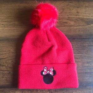 Disney Minnie Mouse Red Pom Pom Beanie